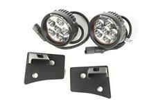 Zestaw oświetlenia, mocowanie na podszybiu, czarne teksturowane, 2 okrągłe lampy LED 3.5″ : 07-17 Jeep Wrangler JK