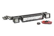 Zestaw oświetlenia na maskę, czarny, 2 x 3″ kwadratowa lampa LED & Panel LED 13.5″ : 97-06 Jeep Wrangler