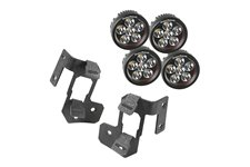 Zestaw podwójne mocowanie oświetlenia na słupek A, 4 okrągłe lampy LED 3.5″, para, czarne teksturowane : 07-17 Jeep Wrangler JK