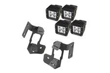 Zestaw podwójne mocowanie oświetlenia na słupek A, 4 kwadratowe lampy LED 3″, para, czarne teksturowane : 07-17 Jeep Wrangler JK